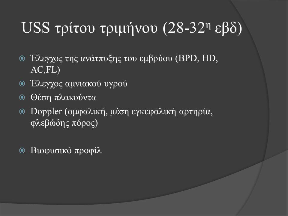 USS τρίτου τριμήνου (28-32 η εβδ)  Έλεγχος της ανάτπυξης του εμβρύου (BPD, HD, AC,FL)  Έλεγχος αμνιακού υγρού  Θέση πλακούντα  Doppler (ομφαλική, μέση εγκεφαλική αρτηρία, φλεβώδης πόρος)  Βιοφυσικό προφίλ