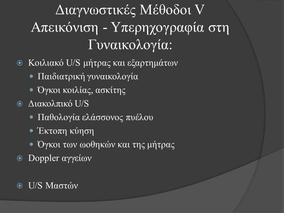  Κοιλιακό U/S μήτρας και εξαρτημάτων Παιδιατρική γυναικολογία Όγκοι κοιλίας, ασκίτης  Διακολπικό U/S Παθολογία ελάσσονος πυέλου Έκτοπη κύηση Όγκοι των ωοθηκών και της μήτρας  Doppler αγγείων  U/S Μαστών Διαγνωστικές Μέθοδοι V Απεικόνιση - Υπερηχογραφία στη Γυναικολογία: