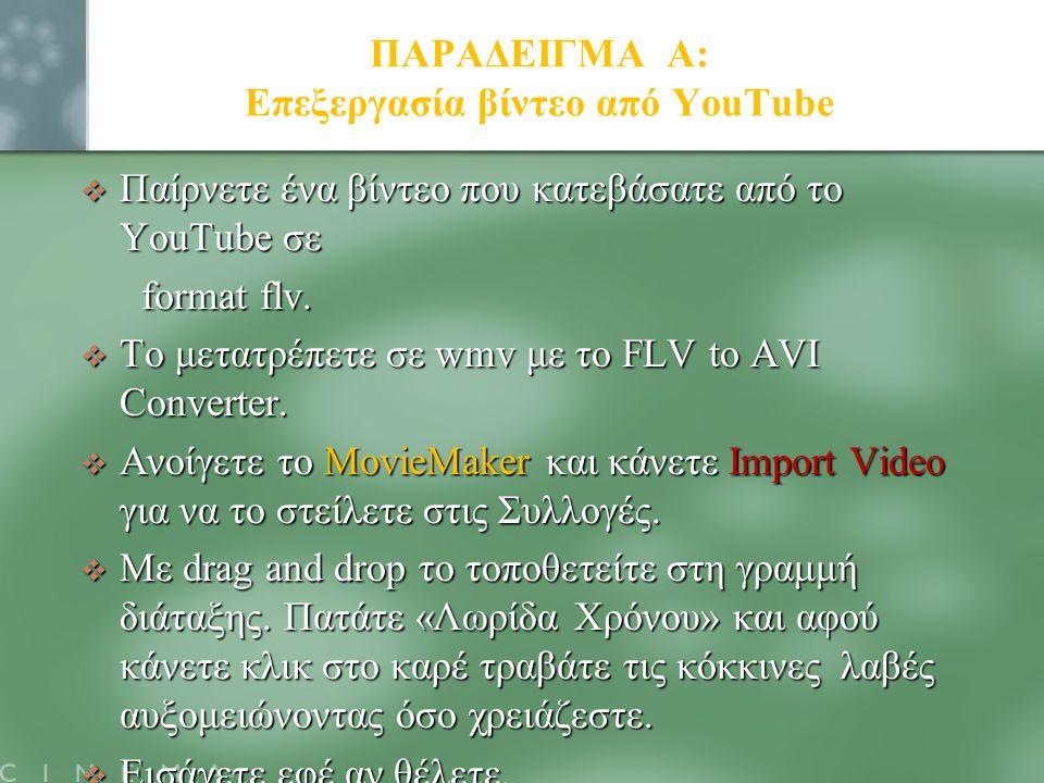 ΠΑΡΑΔΕΙΓΜΑ Α: Επεξεργασία βίντεο από YouTube  Παίρνετε ένα βίντεο που κατεβάσατε από το YouTube σε format flv. format flv.  Το μετατρέπετε σε wmv με