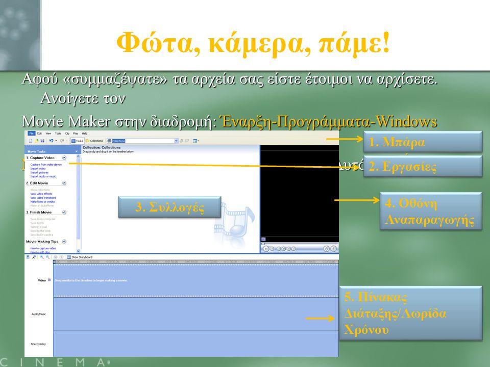 Φώτα, κάμερα, πάμε! Αφού «συμμαζέψατε» τα αρχεία σας είστε έτοιμοι να αρχίσετε. Ανοίγετε τον Movie Maker στην διαδρομή: Έναρξη-Προγράμματα-Windows Mov