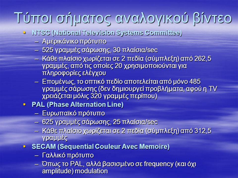 Τύποι σήματος αναλογικού βίντεο  NTSC (National Television Systems Committee) –Αμερικάνικο πρότυπο –525 γραμμές σάρωσης, 30 πλαίσια/sec –Κάθε πλαίσιο χωρίζεται σε 2 πεδία (σύμπλεξη) από 262,5 γραμμές, από τις οποίες 20 χρησιμοποιούνται για πληροφορίες ελέγχου –Επομένως, το οπτικό πεδίο αποτελείται από μόνο 485 γραμμές σάρωσης (δεν δημιουργεί προβλήματα, αφού η TV χρειάζεται μόλις 320 γραμμές περίπου)  PAL (Phase Alternation Line) –Ευρωπαϊκό πρότυπο –625 γραμμές σάρωσης, 25 πλαίσια/sec –Κάθε πλαίσιο χωρίζεται σε 2 πεδία (σύμπλεξη) από 312,5 γραμμές  SECAM (Sequential Couleur Avec Memoire) –Γαλλικό πρότυπο –Όπως το PAL, αλλά βασισμένο σε frequency (και όχι amplitude) modulation