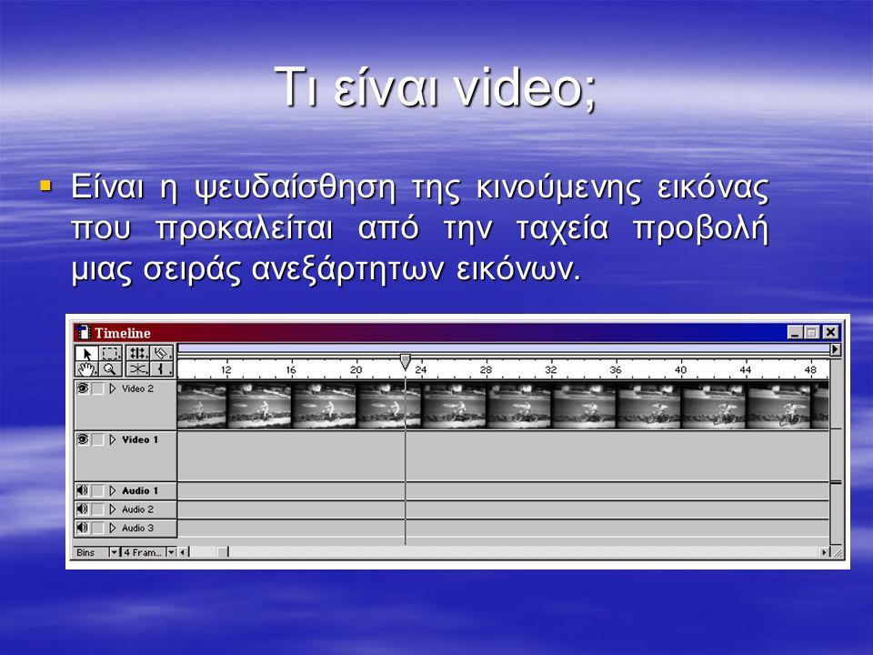 Τι είναι video;  Είναι η ψευδαίσθηση της κινούμενης εικόνας που προκαλείται από την ταχεία προβολή μιας σειράς ανεξάρτητων εικόνων.
