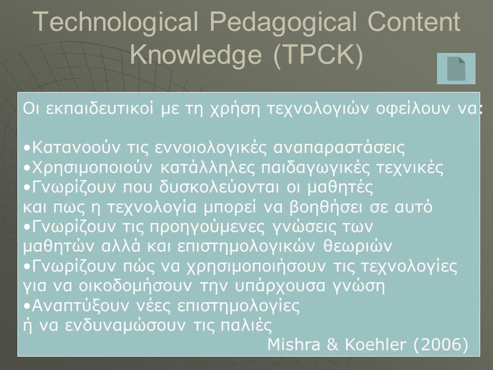 Technological Pedagogical Content Knowledge (TPCK) Οι εκπαιδευτικοί με τη χρήση τεχνολογιών οφείλουν να: Κατανοούν τις εννοιολογικές αναπαραστάσεις Χρησιμοποιούν κατάλληλες παιδαγωγικές τεχνικές Γνωρίζουν που δυσκολεύονται οι μαθητές και πως η τεχνολογία μπορεί να βοηθήσει σε αυτό Γνωρίζουν τις προηγούμενες γνώσεις των μαθητών αλλά και επιστημολογικών θεωριών Γνωρίζουν πώς να χρησιμοποιήσουν τις τεχνολογίες για να οικοδομήσουν την υπάρχουσα γνώση Αναπτύξουν νέες επιστημολογίες ή να ενδυναμώσουν τις παλιές Mishra & Koehler (2006)