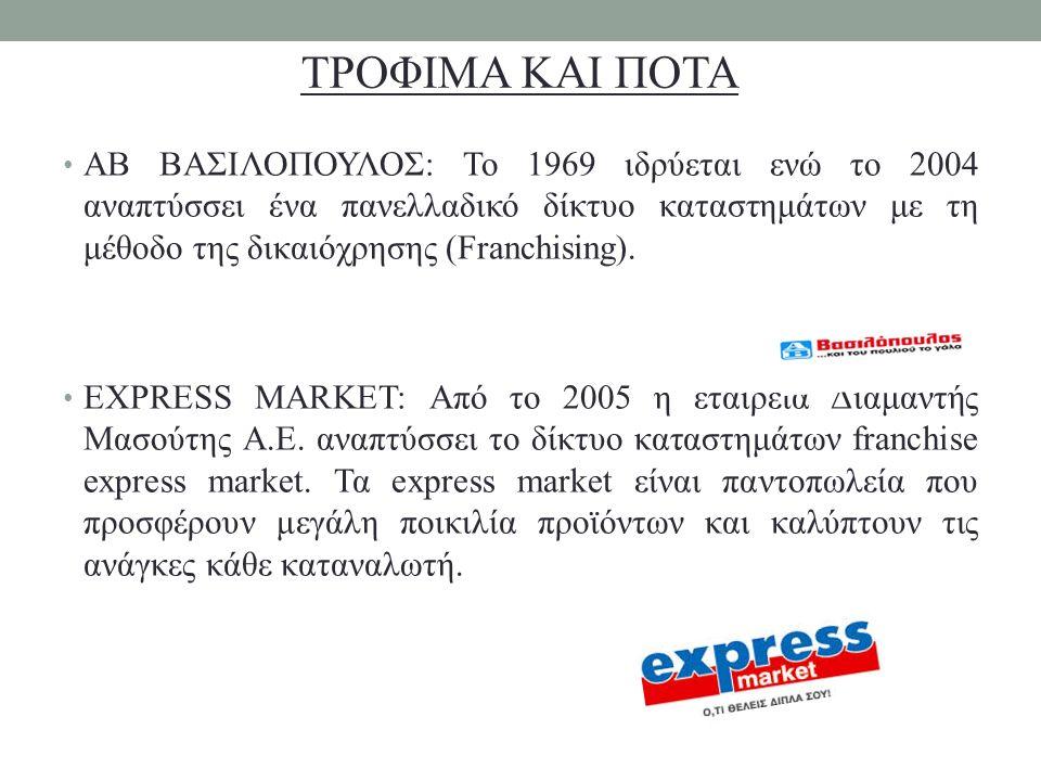 ΑΒ ΒΑΣΙΛΟΠΟΥΛΟΣ: Το 1969 ιδρύεται ενώ το 2004 αναπτύσσει ένα πανελλαδικό δίκτυο καταστημάτων με τη μέθοδο της δικαιόχρησης (Franchising). EXPRESS MARK