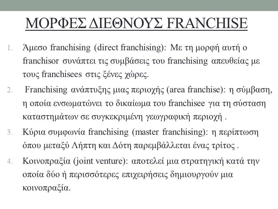 ΜΟΡΦΕΣ ΔΙΕΘΝΟΥΣ FRANCHISE 1. Άμεσο franchising (direct franchising): Με τη μορφή αυτή ο franchisor συνάπτει τις συμβάσεις του franchising απευθείας με