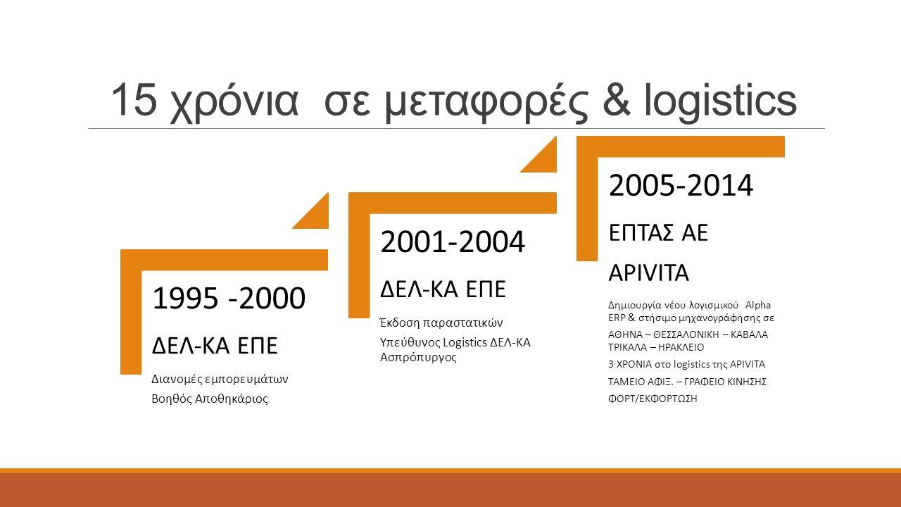 15 χρόνια σε μεταφορές & logistics 1995 -2000 ΔΕΛ-ΚΑ ΕΠΕ Διανομές εμπορευμάτων Βοηθός Αποθηκάριος 2001-2004 ΔΕΛ-ΚΑ ΕΠΕ Έκδοση παραστατικών Υπεύθυνος Logistics ΔΕΛ-ΚΑ Ασπρόπυργος 2005-2014 ΕΠΤΑΣ ΑΕ APIVITA Δημιουργία νέου λογισμικού Alpha ERP & στήσιμο μηχανογράφησης σε ΑΘΗΝΑ – ΘΕΣΣΑΛΟΝΙΚΗ – ΚΑΒΑΛΑ ΤΡΙΚΑΛΑ – ΗΡΑΚΛΕΙΟ 3 ΧΡΟΝΙΑ στο logistics της APIVITA TAMEIO ΑΦΙΞ.
