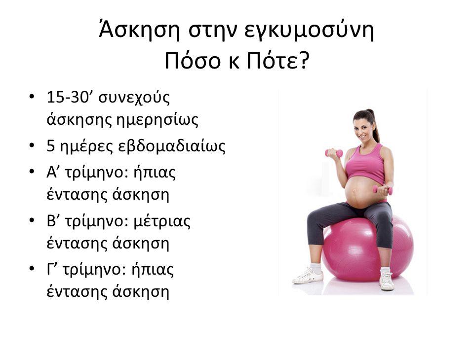 Άσκηση στην εγκυμοσύνη Πόσο κ Πότε? 15-30' συνεχούς άσκησης ημερησίως 5 ημέρες εβδομαδιαίως Α' τρίμηνο: ήπιας έντασης άσκηση Β' τρίμηνο: μέτριας έντασ