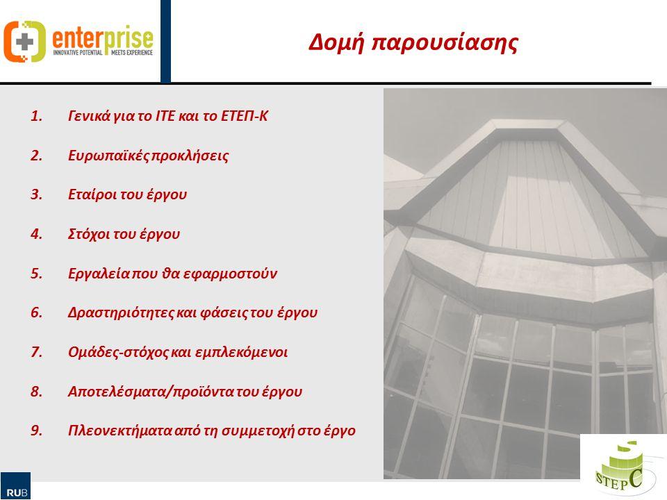 Human Ressource Management & Qualification Δομή παρουσίασης 2 1.Γενικά για το ΙΤΕ και το ΕΤΕΠ-Κ 2.Ευρωπαϊκές προκλήσεις 3.Εταίροι του έργου 4.Στόχοι του έργου 5.Εργαλεία που θα εφαρμοστούν 6.Δραστηριότητες και φάσεις του έργου 7.Ομάδες-στόχος και εμπλεκόμενοι 8.Αποτελέσματα/προϊόντα του έργου 9.Πλεονεκτήματα από τη συμμετοχή στο έργο