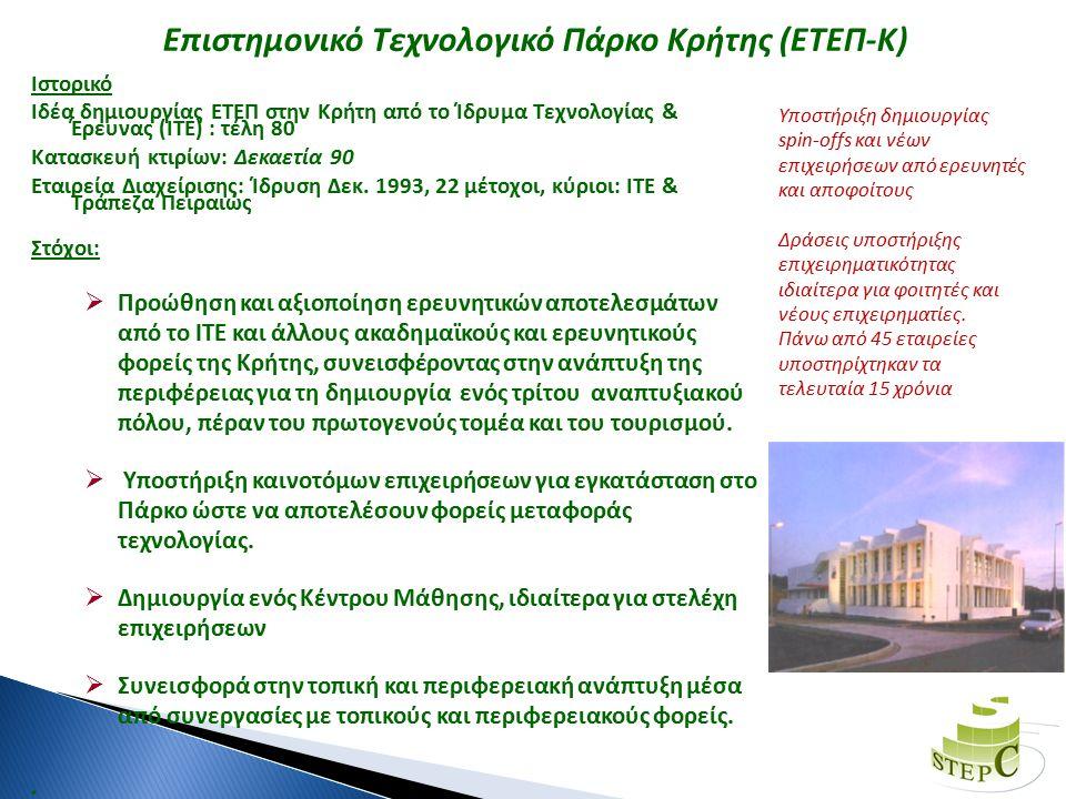 Επιστημονικό Τεχνολογικό Πάρκο Κρήτης (ΕΤΕΠ-Κ) Ιστορικό Ιδέα δημιουργίας ΕΤΕΠ στην Κρήτη από το Ίδρυμα Τεχνολογίας & Έρευνας (ΙΤΕ) : τέλη 80 Κατασκευή κτιρίων: Δεκαετία 90 Εταιρεία Διαχείρισης: Ίδρυση Δεκ.