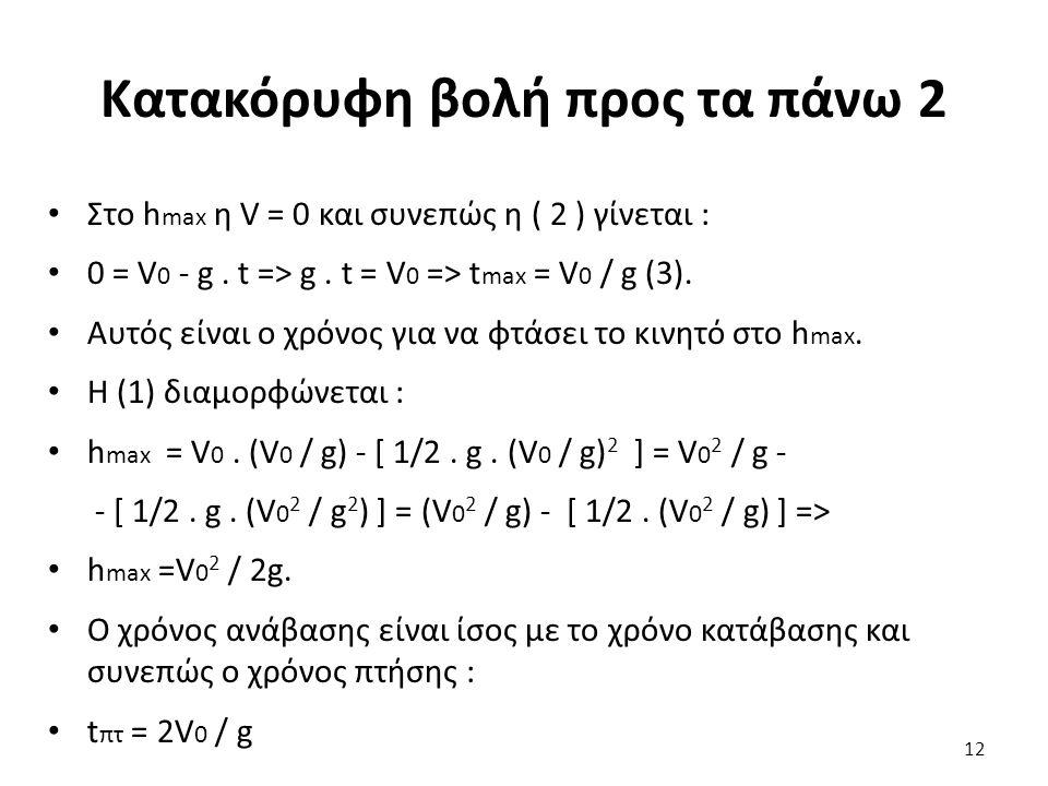 Κατακόρυφη βολή προς τα πάνω 2 Στο h max η V = 0 και συνεπώς η ( 2 ) γίνεται : 0 = V 0 - g.