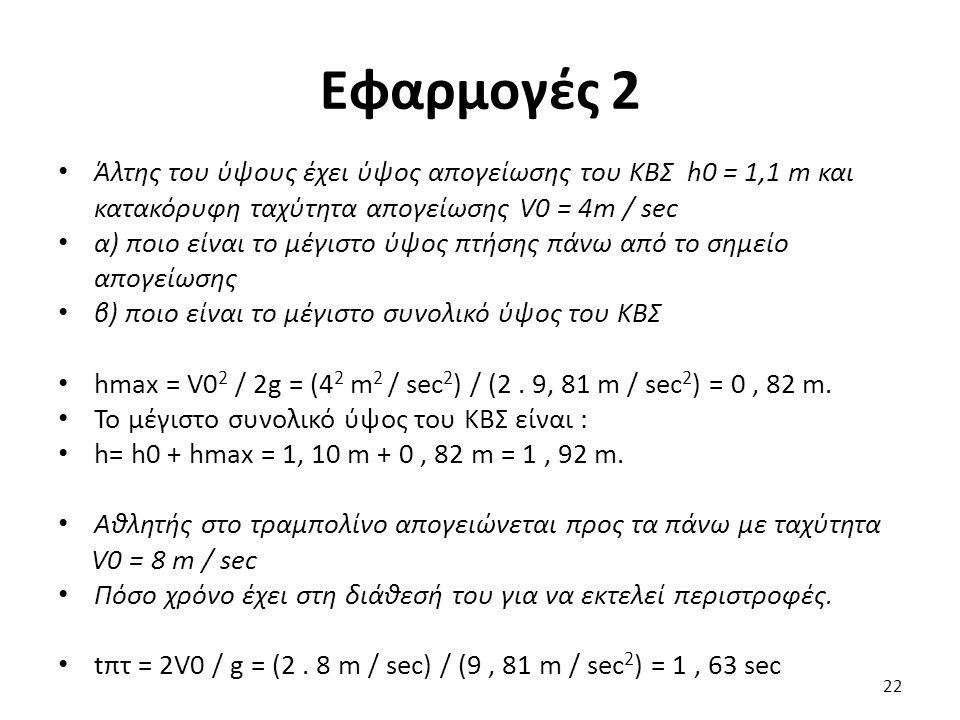 Εφαρμογές 2 Άλτης του ύψους έχει ύψος απογείωσης του ΚΒΣ h0 = 1,1 m και κατακόρυφη ταχύτητα απογείωσης V0 = 4m / sec α) ποιο είναι το μέγιστο ύψος πτήσης πάνω από το σημείο απογείωσης β) ποιο είναι το μέγιστο συνολικό ύψος του ΚΒΣ hmax = V0 2 / 2g = (4 2 m 2 / sec 2 ) / (2.