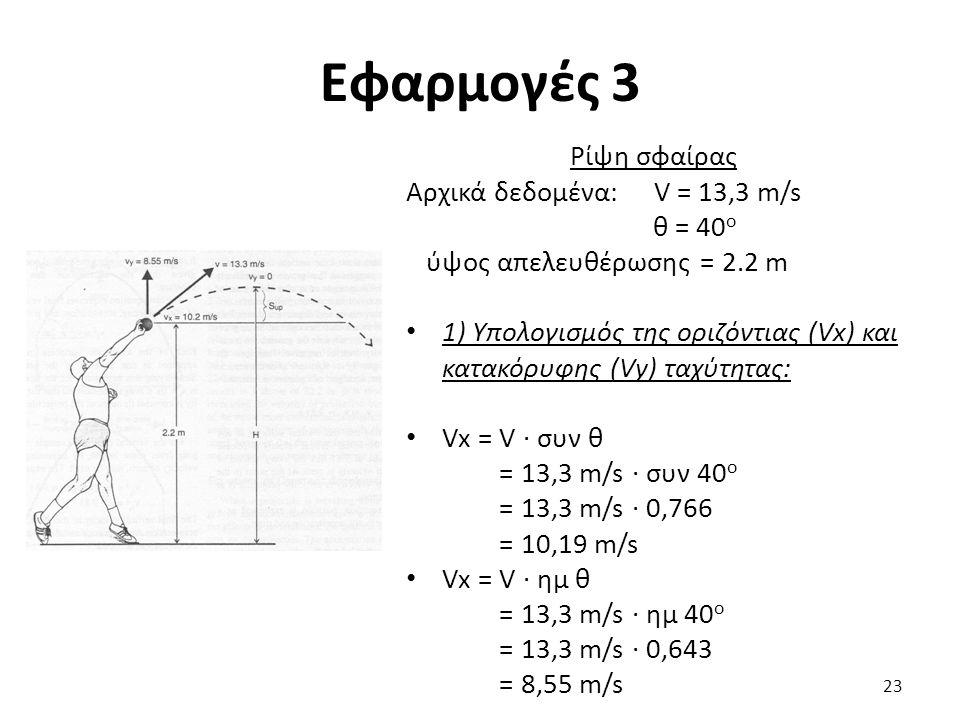 Εφαρμογές 3 Ρίψη σφαίρας Αρχικά δεδομένα: V = 13,3 m/s θ = 40 ο ύψος απελευθέρωσης = 2.2 m 1) Υπολογισμός της οριζόντιας (Vx) και κατακόρυφης (Vy) ταχύτητας: Vx = V · συν θ = 13,3 m/s · συν 40 ο = 13,3 m/s · 0,766 = 10,19 m/s Vx = V · ημ θ = 13,3 m/s · ημ 40 ο = 13,3 m/s · 0,643 = 8,55 m/s 23