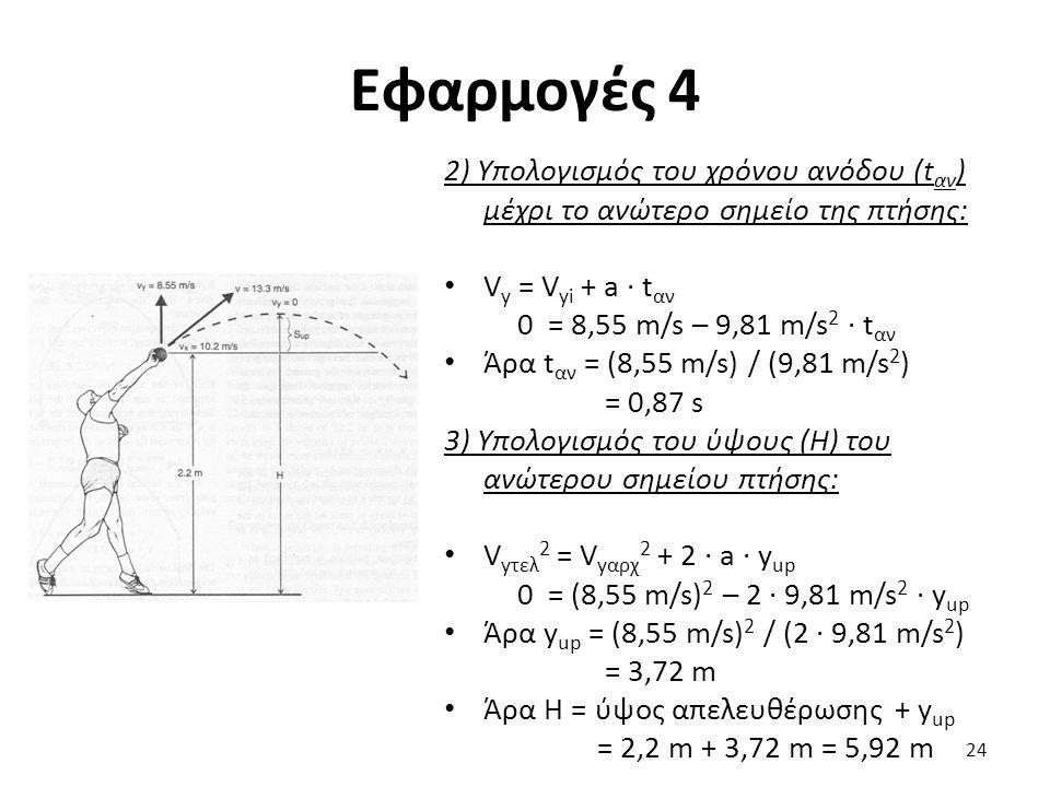 Εφαρμογές 4 2) Υπολογισμός του χρόνου ανόδου (t αν ) μέχρι το ανώτερο σημείο της πτήσης: V y = V yi + a · t αν 0 = 8,55 m/s – 9,81 m/s 2 · t αν Άρα t αν = (8,55 m/s) / (9,81 m/s 2 ) = 0,87 s 3) Υπολογισμός του ύψους (Η) του ανώτερου σημείου πτήσης: V yτελ 2 = V yαρχ 2 + 2 · a · y up 0 = (8,55 m/s) 2 – 2 · 9,81 m/s 2 · y up Άρα y up = (8,55 m/s) 2 / (2 · 9,81 m/s 2 ) = 3,72 m Άρα Η = ύψος απελευθέρωσης + y up = 2,2 m + 3,72 m = 5,92 m 24