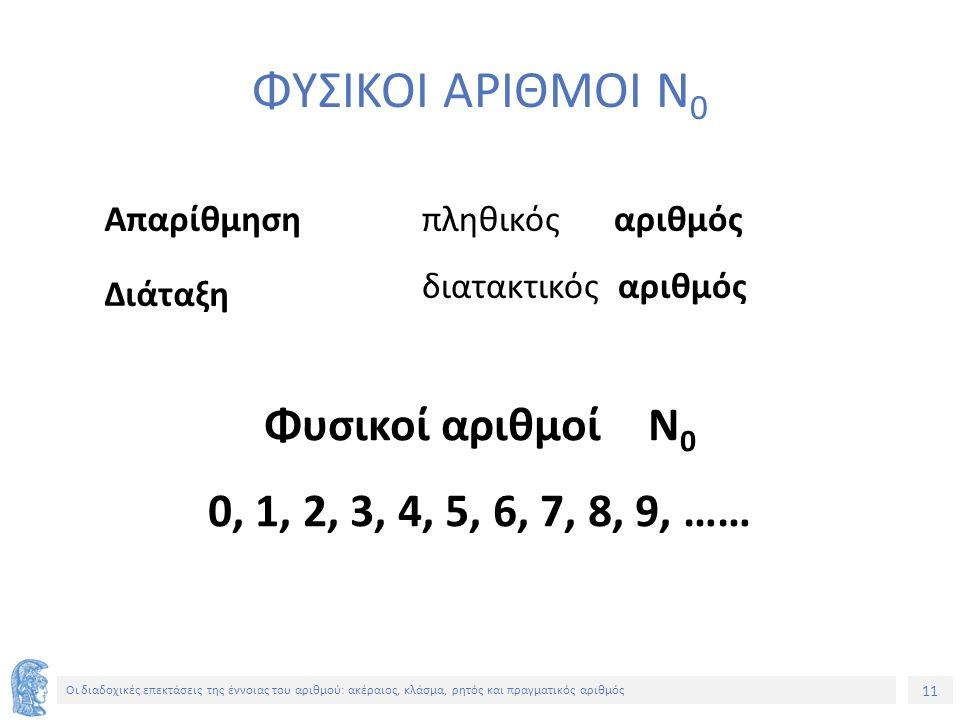 11 Οι διαδοχικές επεκτάσεις της έννοιας του αριθμού: ακέραιος, κλάσμα, ρητός και πραγματικός αριθμός ΦΥΣΙΚΟΙ ΑΡΙΘΜΟΙ Ν 0 Απαρίθμηση Διάταξη πληθικόςαριθμός διατακτικός αριθμός Φυσικοί αριθμοίΝ 0 0, 1, 2, 3, 4, 5, 6, 7, 8, 9, ……