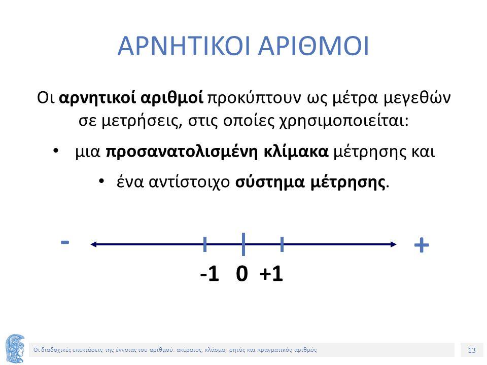 13 Οι διαδοχικές επεκτάσεις της έννοιας του αριθμού: ακέραιος, κλάσμα, ρητός και πραγματικός αριθμός ΑΡΝΗΤΙΚΟΙ ΑΡΙΘΜΟΙ Οι αρνητικοί αριθμοί προκύπτουν ως μέτρα μεγεθών σε μετρήσεις, στις οποίες χρησιμοποιείται: μια προσανατολισμένη κλίμακα μέτρησης και ένα αντίστοιχο σύστημα μέτρησης.