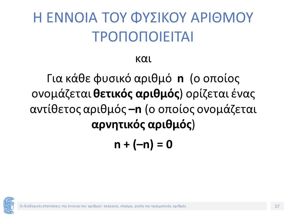 17 Οι διαδοχικές επεκτάσεις της έννοιας του αριθμού: ακέραιος, κλάσμα, ρητός και πραγματικός αριθμός Η ΕΝΝΟΙΑ ΤΟΥ ΦΥΣΙΚΟΥ ΑΡΙΘΜΟΥ ΤΡΟΠΟΠΟΙΕΙΤΑΙ και Για κάθε φυσικό αριθμό n (ο οποίος ονομάζεται θετικός αριθμός) ορίζεται ένας αντίθετος αριθμός –n (ο οποίος ονομάζεται αρνητικός αριθμός) n + (–n) = 0