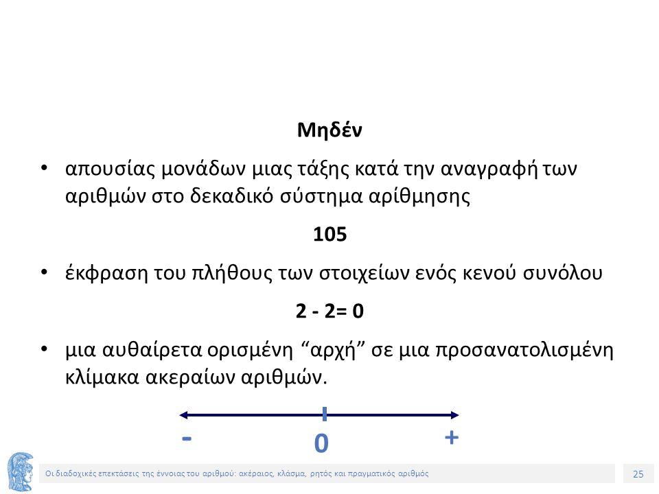 25 Οι διαδοχικές επεκτάσεις της έννοιας του αριθμού: ακέραιος, κλάσμα, ρητός και πραγματικός αριθμός Μηδέν απουσίας μονάδων μιας τάξης κατά την αναγραφή των αριθμών στο δεκαδικό σύστημα αρίθμησης 105 έκφραση του πλήθους των στοιχείων ενός κενού συνόλου 2 - 2= 0 μια αυθαίρετα ορισμένη αρχή σε μια προσανατολισμένη κλίμακα ακεραίων αριθμών.