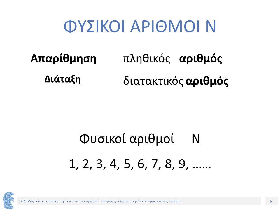 5 Οι διαδοχικές επεκτάσεις της έννοιας του αριθμού: ακέραιος, κλάσμα, ρητός και πραγματικός αριθμός ΦΥΣΙΚΟΙ ΑΡΙΘΜΟΙ Ν Απαρίθμηση Διάταξη πληθικόςαριθμός διατακτικός αριθμός Φυσικοί αριθμοίΝ 1, 2, 3, 4, 5, 6, 7, 8, 9, ……