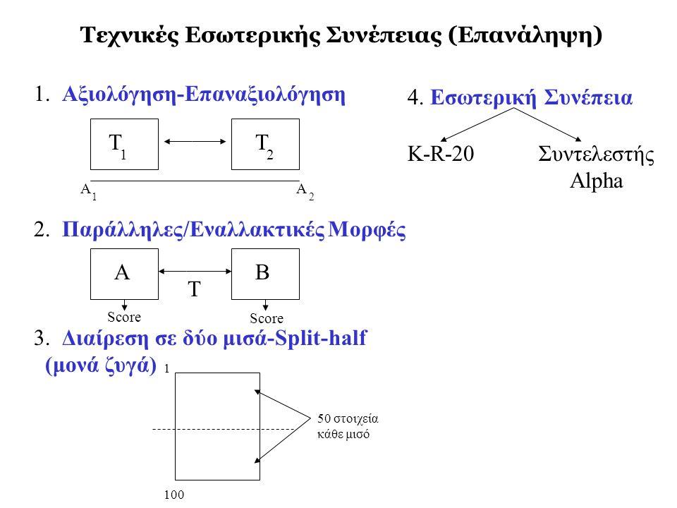 Τεχνικές Εσωτερικής Συνέπειας (Επανάληψη) 1. Αξιολόγηση-Επαναξιολόγηση 2. Παράλληλες/Εναλλακτικές Μορφές 3. Διαίρεση σε δύο μισά-Split-half (μονά ζυγά