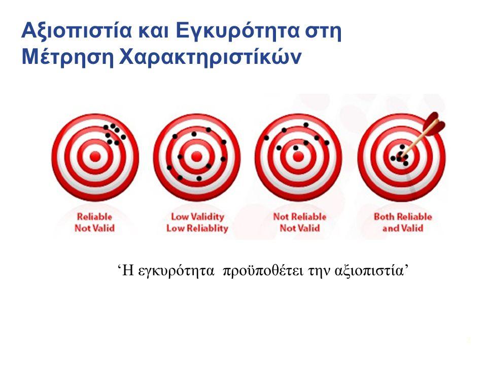33 Αξιολόγηση Αξιοπιστίας Σταθερότητα της μέτρησης  Στο χρόνο (Test-Retest Reliability)  Μεταξύ παρατηρητών, βαθμολογητών, παρατηρητών  Σταθερότητα των μερών της δοκιμασίας (Internal Consistency)