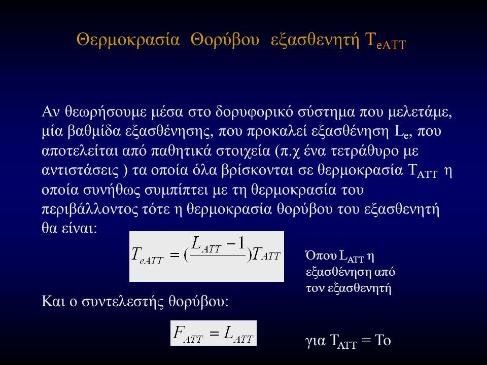 Θερμοκρασία Θορύβου εξασθενητή T eATT Αν θεωρήσουμε μέσα στο δορυφορικό σύστημα που μελετάμε, μία βαθμίδα εξασθένησης, που προκαλεί εξασθένηση L e, που αποτελείται από παθητικά στοιχεία (π.χ ένα τετράθυρο με αντιστάσεις ) τα οποία όλα βρίσκονται σε θερμοκρασία T ATT η οποία συνήθως συμπίπτει με τη θερμοκρασία του περιβάλλοντος τότε η θερμοκρασία θορύβου του εξασθενητή θα είναι: Και ο συντελεστής θορύβου: για Τ ΑΤΤ = Το Όπου L ATT η εξασθένηση από τον εξασθενητή