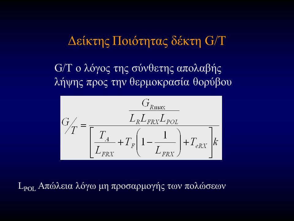 Δείκτης Ποιότητας δέκτη G/T G/T ο λόγος της σύνθετης απολαβής λήψης προς την θερμοκρασία θορύβου L POL Απώλεια λόγω μη προσαρμογής των πολώσεων