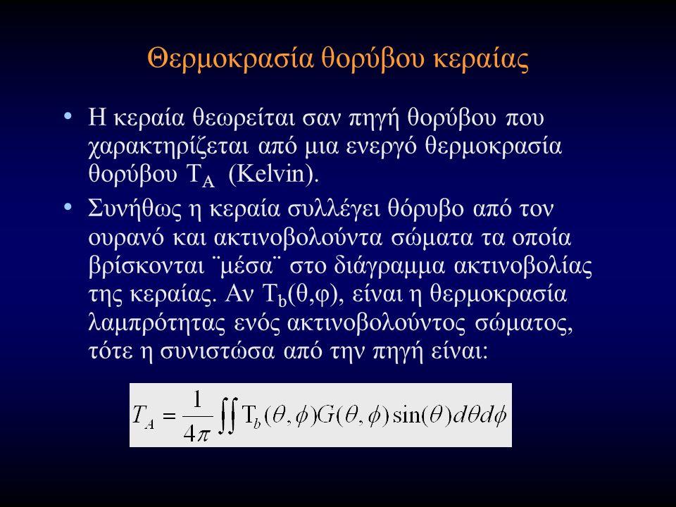Θερμοκρασία θορύβου κεραίας Η κεραία θεωρείται σαν πηγή θορύβου που χαρακτηρίζεται από μια ενεργό θερμοκρασία θορύβου T A (Kelvin).