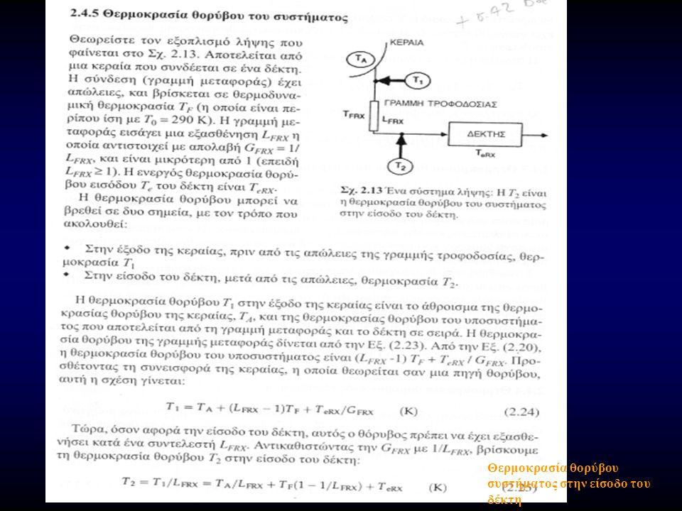 Συντελεστής Θορύβου F (Noise Figure - NF) (1) Ορίζεται ως ο λόγος της ολικής διαθέσιμης ισχύος θορύβου στην έξοδο του στοιχείου, προς τη συνιστώσα (κλάσμα, ποσοστό) της ισχύος θορύβου στην έξοδο, που παράγεται από μια πηγή στην είσοδο µε θερμοκρασία θορύβου Τ ο =290 ο Κ Θεωρούµε σύστημα µε κέρδος ισχύος G, εύρος ζώνης B, και ότι συνδέεται µε πηγή θορύβου Τ ο.