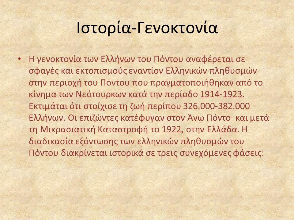 Ιστορία-Γενοκτονία Η γενοκτονία των Ελλήνων του Πόντου αναφέρεται σε σφαγές και εκτοπισμούς εναντίον Ελληνικών πληθυσμών στην περιοχή του Πόντου που πραγματοποιήθηκαν από το κίνημα των Νεότουρκων κατά την περίοδο 1914-1923.