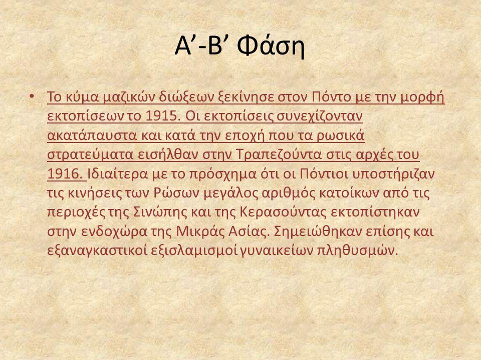 Α'-Β' Φάση Το κύμα μαζικών διώξεων ξεκίνησε στον Πόντο με την μορφή εκτοπίσεων το 1915.