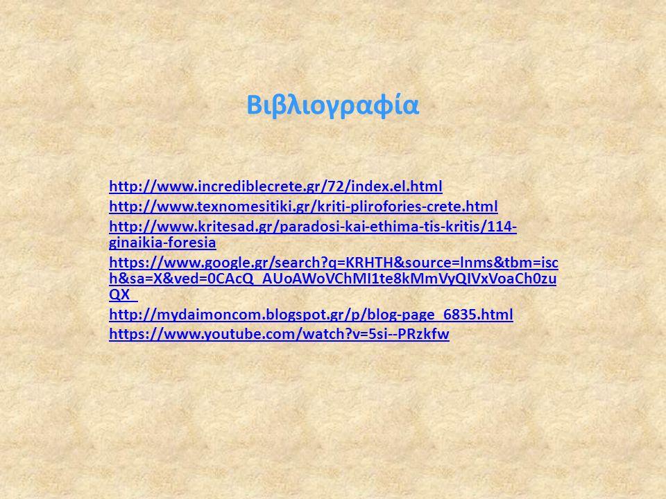 Βιβλιογραφία http://www.incrediblecrete.gr/72/index.el.html http://www.texnomesitiki.gr/kriti-plirofories-crete.html http://www.kritesad.gr/paradosi-kai-ethima-tis-kritis/114- ginaikia-foresia https://www.google.gr/search q=KRHTH&source=lnms&tbm=isc h&sa=X&ved=0CAcQ_AUoAWoVChMI1te8kMmVyQIVxVoaCh0zu QX_ http://mydaimoncom.blogspot.gr/p/blog-page_6835.html https://www.youtube.com/watch v=5si--PRzkfw