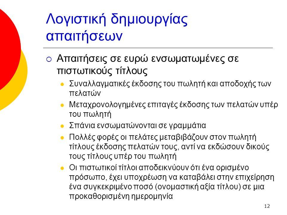 12 Λογιστική δημιουργίας απαιτήσεων  Απαιτήσεις σε ευρώ ενσωματωμένες σε πιστωτικούς τίτλους Συναλλαγματικές έκδοσης του πωλητή και αποδοχής των πελατών Μεταχρονολογημένες επιταγές έκδοσης των πελατών υπέρ του πωλητή Σπάνια ενσωματώνονται σε γραμμάτια Πολλές φορές οι πελάτες μεταβιβάζουν στον πωλητή τίτλους έκδοσης πελατών τους, αντί να εκδώσουν δικούς τους τίτλους υπέρ του πωλητή Οι πιστωτικοί τίτλοι αποδεικνύουν ότι ένα ορισμένο πρόσωπο, έχει υποχρέωση να καταβάλει στην επιχείρηση ένα συγκεκριμένο ποσό (ονομαστική αξία τίτλου) σε μια προκαθορισμένη ημερομηνία