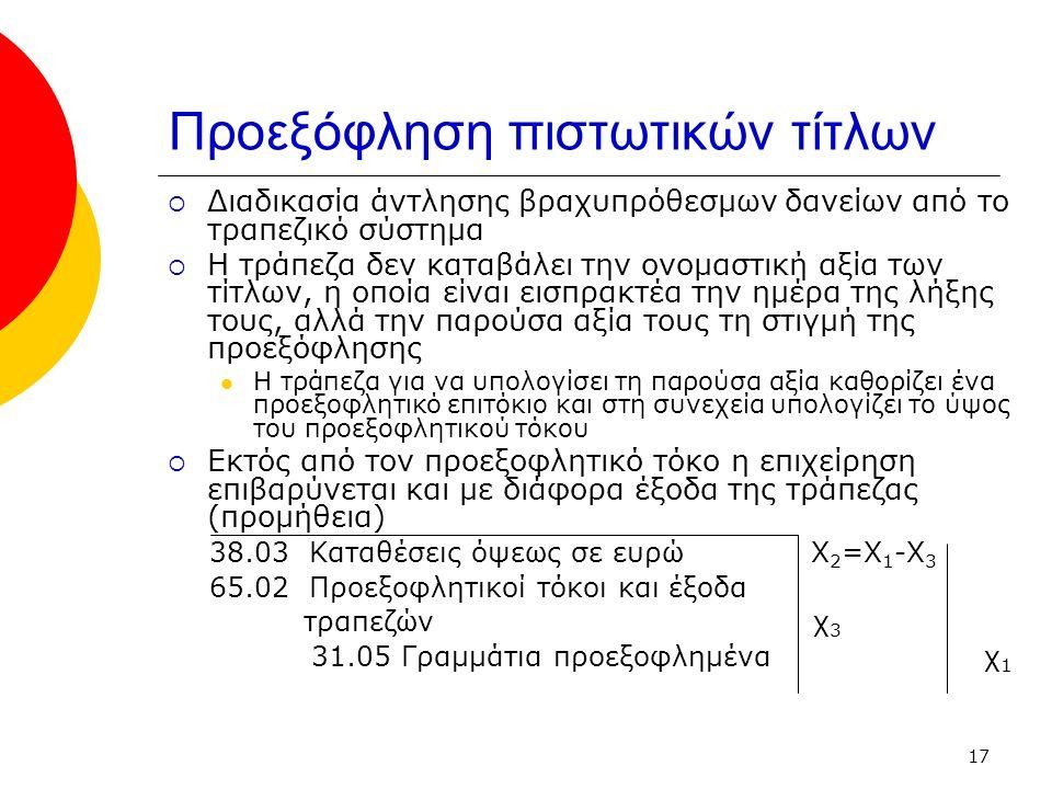17 Προεξόφληση πιστωτικών τίτλων  Διαδικασία άντλησης βραχυπρόθεσμων δανείων από το τραπεζικό σύστημα  Η τράπεζα δεν καταβάλει την ονομαστική αξία των τίτλων, η οποία είναι εισπρακτέα την ημέρα της λήξης τους, αλλά την παρούσα αξία τους τη στιγμή της προεξόφλησης Η τράπεζα για να υπολογίσει τη παρούσα αξία καθορίζει ένα προεξοφλητικό επιτόκιο και στη συνεχεία υπολογίζει το ύψος του προεξοφλητικού τόκου  Εκτός από τον προεξοφλητικό τόκο η επιχείρηση επιβαρύνεται και με διάφορα έξοδα της τράπεζας (προμήθεια) 38.03 Καταθέσεις όψεως σε ευρώ Χ 2 =Χ 1 -Χ 3 65.02 Προεξοφλητικοί τόκοι και έξοδα τραπεζών χ 3 31.05 Γραμμάτια προεξοφλημένα χ 1