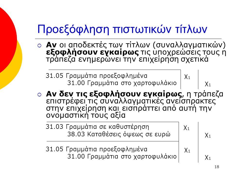 18 Προεξόφληση πιστωτικών τίτλων  Αν οι αποδεκτές των τίτλων (συναλλαγματικών) εξοφλήσουν εγκαίρως τις υποχρεώσεις τους η τράπεζα ενημερώνει την επιχείρηση σχετικά 31.05 Γραμμάτια προεξοφλημένα χ 1 31.00 Γραμμάτια στο χαρτοφυλάκιο χ 1  Αν δεν τις εξοφλήσουν εγκαίρως, η τράπεζα επιστρέφει τις συναλλαγματικές ανείσπρακτες στην επιχείρηση και εισπράττει από αυτή την ονομαστική τους αξία 31.03 Γραμμάτια σε καθυστέρηση χ 1 38.03 Καταθέσεις όψεως σε ευρώ χ 1 31.05 Γραμμάτια προεξοφλημένα χ 1 31.00 Γραμμάτια στο χαρτοφυλάκιο χ 1