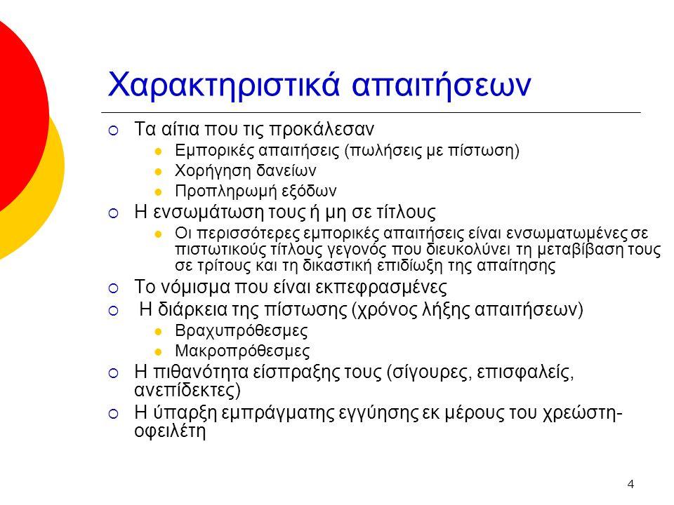 4 Χαρακτηριστικά απαιτήσεων  Τα αίτια που τις προκάλεσαν Εμπορικές απαιτήσεις (πωλήσεις με πίστωση) Χορήγηση δανείων Προπληρωμή εξόδων  Η ενσωμάτωση τους ή μη σε τίτλους Οι περισσότερες εμπορικές απαιτήσεις είναι ενσωματωμένες σε πιστωτικούς τίτλους γεγονός που διευκολύνει τη μεταβίβαση τους σε τρίτους και τη δικαστική επιδίωξη της απαίτησης  Το νόμισμα που είναι εκπεφρασμένες  Η διάρκεια της πίστωσης (χρόνος λήξης απαιτήσεων) Βραχυπρόθεσμες Μακροπρόθεσμες  Η πιθανότητα είσπραξης τους (σίγουρες, επισφαλείς, ανεπίδεκτες)  Η ύπαρξη εμπράγματης εγγύησης εκ μέρους του χρεώστη- οφειλέτη