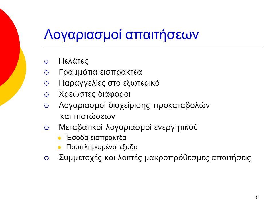 6 Λογαριασμοί απαιτήσεων  Πελάτες  Γραμμάτια εισπρακτέα  Παραγγελίες στο εξωτερικό  Χρεώστες διάφοροι  Λογαριασμοί διαχείρισης προκαταβολών και πιστώσεων  Μεταβατικοί λογαριασμοί ενεργητικού Έσοδα εισπρακτέα Προπληρωμένα έξοδα  Συμμετοχές και λοιπές μακροπρόθεσμες απαιτήσεις