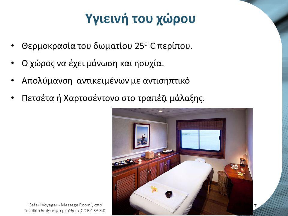 Υγιεινή του χώρου Θερμοκρασία του δωματίου 25 ο C περίπου.
