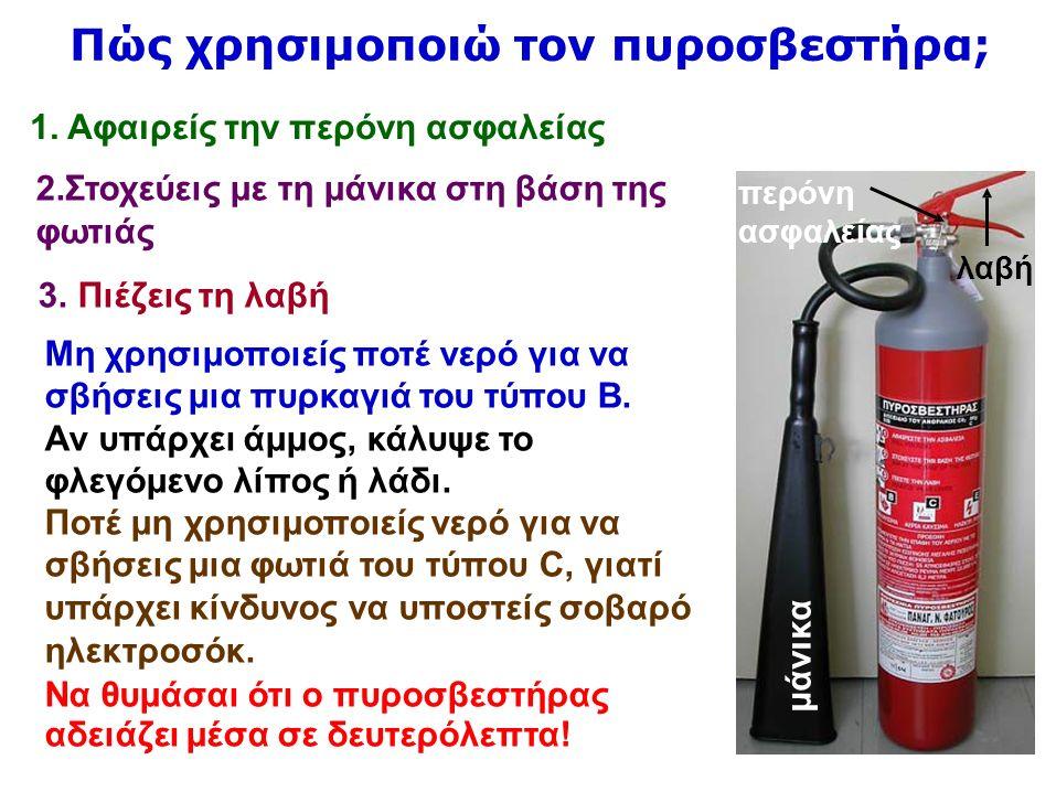 52 μάνικα περόνη ασφαλείας λαβή 2.Στοχεύεις με τη μάνικα στη βάση της φωτιάς 3.Πιέζεις τη λαβή Μη χρησιμοποιείς ποτέ νερό για να σβήσεις μια πυρκαγιά του τύπου Β.