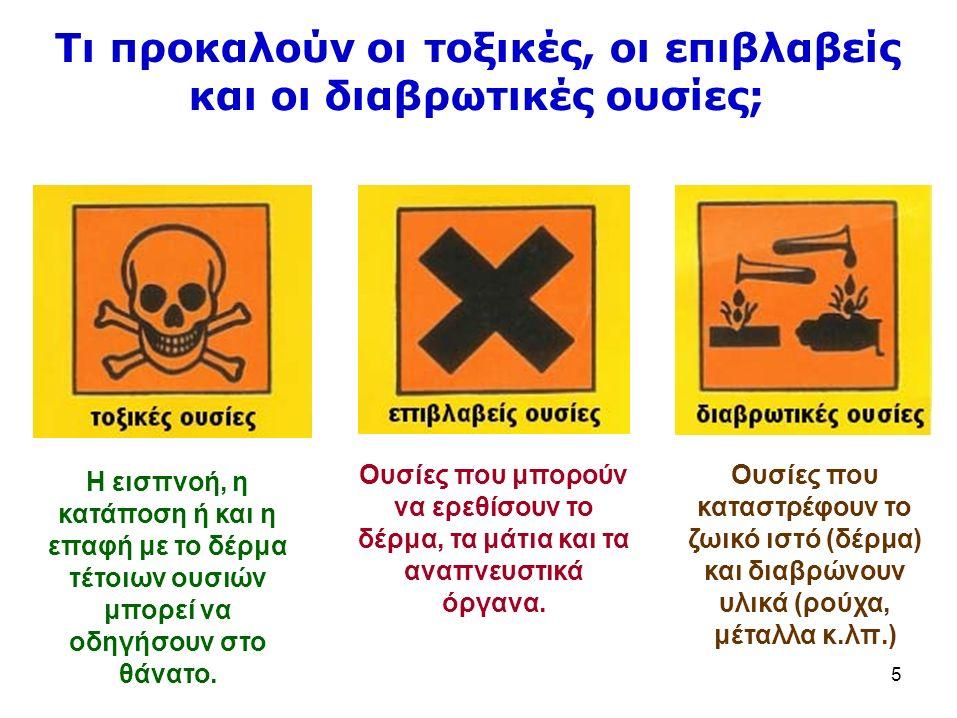 Ουσίες που καταστρέφουν το ζωικό ιστό (δέρμα) και διαβρώνουν υλικά (ρούχα, μέταλλα κ.λπ.) 5 Τιπροκαλούν οιτοξικές, οι επιβλαβείς και οι διαβρωτικές ουσίες; Η εισπνοή, η κατάποση ή και η επαφή με το δέρμα τέτοιων ουσιών μπορεί να οδηγήσουν στο θάνατο.