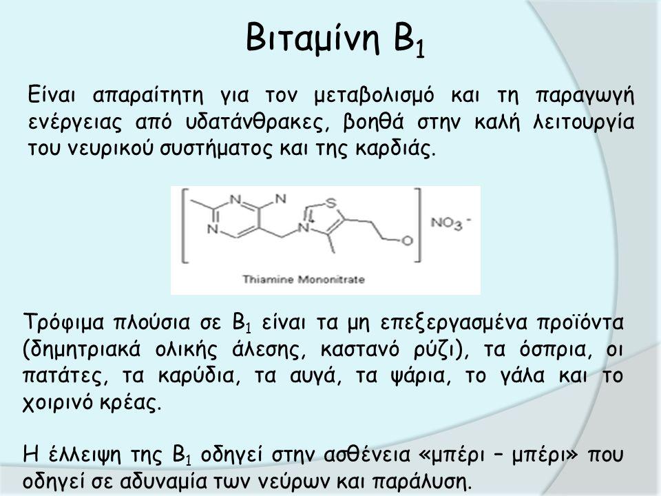 Βιταμίνη Β 1 Είναι απαραίτητη για τον μεταβολισμό και τη παραγωγή ενέργειας από υδατάνθρακες, βοηθά στην καλή λειτουργία του νευρικού συστήματος και της καρδιάς.