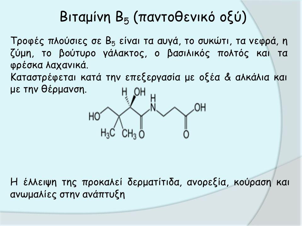 Βιταμίνη Β 5 (παντοθενικό οξύ) Τροφές πλούσιες σε Β 5 είναι τα αυγά, το συκώτι, τα νεφρά, η ζύμη, το βούτυρο γάλακτος, ο βασιλικός πολτός και τα φρέσκα λαχανικά.