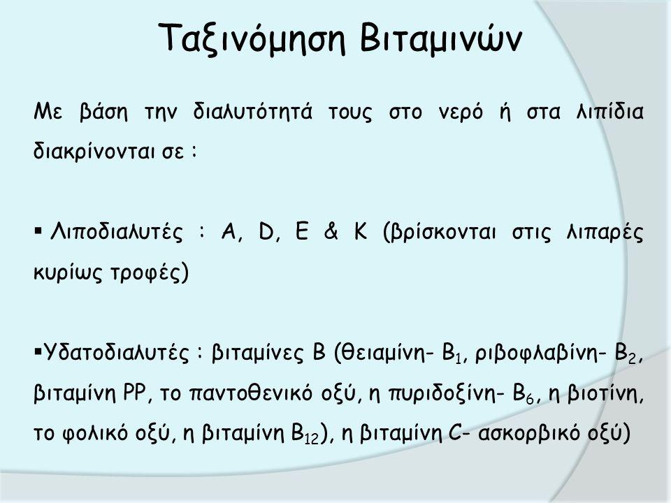 Ταξινόμηση Βιταμινών Με βάση την διαλυτότητά τους στο νερό ή στα λιπίδια διακρίνονται σε :  Λιποδιαλυτές : Α, D, Ε & Κ (βρίσκονται στις λιπαρές κυρίως τροφές)  Υδατοδιαλυτές : βιταμίνες Β (θειαμίνη- Β 1, ριβοφλαβίνη- Β 2, βιταμίνη PP, το παντοθενικό οξύ, η πυριδοξίνη- Β 6, η βιοτίνη, το φολικό οξύ, η βιταμίνη Β 12 ), η βιταμίνη C- ασκορβικό οξύ)