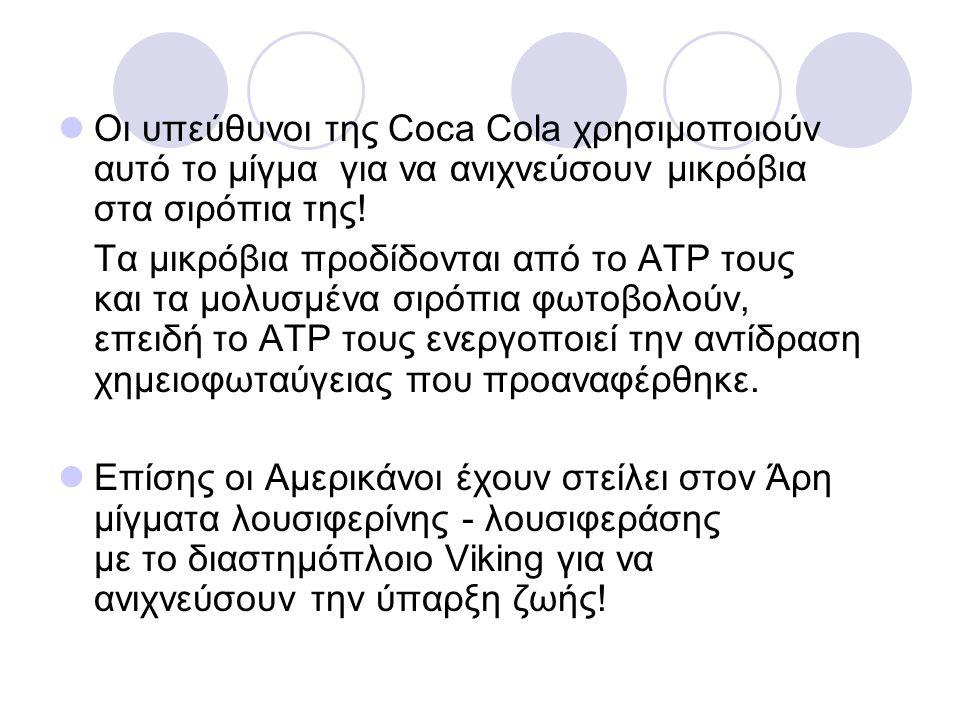 Οι υπεύθυνοι της Coca Cola χρησιμοποιούν αυτό το μίγμα για να ανιχνεύσουν μικρόβια στα σιρόπια της! Τα μικρόβια προδίδονται από το ΑΤΡ τους και τα μολ