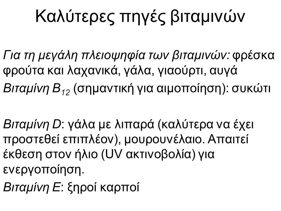 Λειτουργίες των βιταμινών Υδατοδιαλυτές (B, C): είτε οι ίδιες ή παράγωγά τους είναι συνένζυμα ή συμπαράγοντες Λιποδιαλυτές (A, D, E, Κ): πολυσχιδείς λειτουργίες, από χρωστικές της όρασης (Βιτ Α), σε ορμόνες (Βιτ Α, Βιτ D) με λειτουργίες από την ανοσοανοχή (Βιτ Α, Βιτ D), τον σχηματισμό και καλή λειτουργία των οστών (Βιτ D), μέχρι τις αντιοξειδωτικές λειτουργίες (Βιτ Ε) και την πήξη του αίματος (Βιτ Κ)