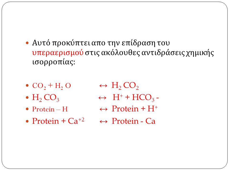 Αυτό προκύπτει απο την επίδραση του υπεραερισμού στις ακόλουθες αντιδράσεις χημικής ισορροπίας : CO 2 + H 2 O ↔ H 2 CO 2 H 2 CO 3 ↔ H + + HCO 3 - Protein – H ↔ Protein + H + Protein + Ca +2 ↔ Protein - Ca