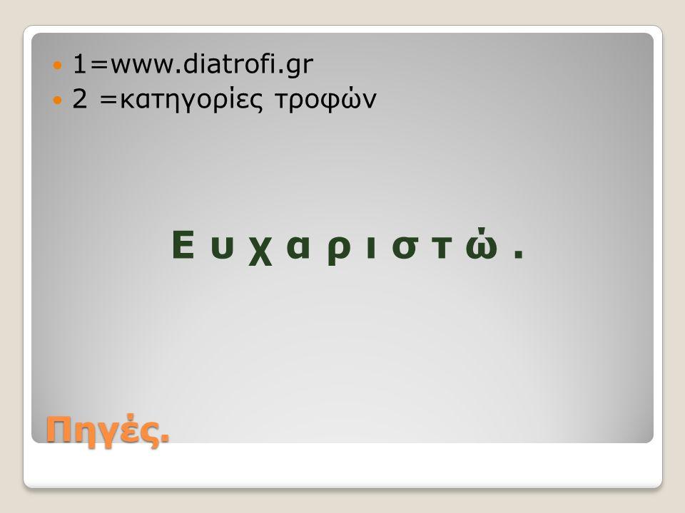 Πηγές. 1=www.diatrofi.gr 2 =κατηγορίες τροφών Ε υ χ α ρ ι σ τ ώ.