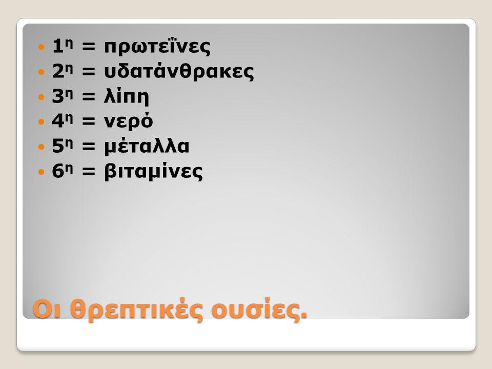 Οι θρεπτικές ουσίες. 1 η = πρωτεΐνες 2 η = υδατάνθρακες 3 η = λίπη 4 η = νερό 5 η = μέταλλα 6 η = βιταμίνες