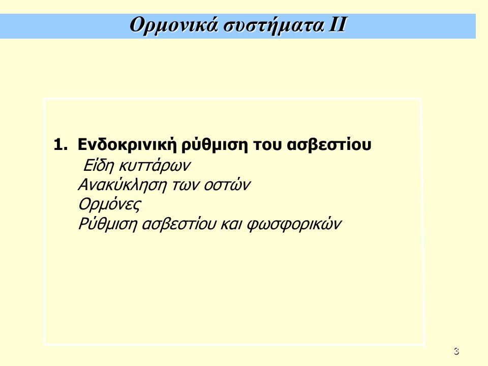 Ορμονικά συστήματα ΙΙ 1.Ενδοκρινική ρύθμιση του ασβεστίου Είδη κυττάρων Ανακύκληση των οστών Ορμόνες Ρύθμιση ασβεστίου και φωσφορικών 3