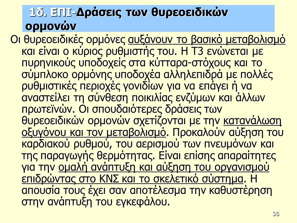 1δ. ΕΠΙ-Δράσεις των θυρεοειδικών ορμονών 1δ.