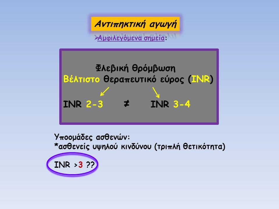 Φλεβική θρόμβωση Βέλτιστο θεραπευτικό εύρος (INR) INR 2-3 ≠ INR 3-4 Υποομάδες ασθενών: *ασθενείς υψηλού κινδύνου (τριπλή θετικότητα) INR >3 ??  Αμφιλ